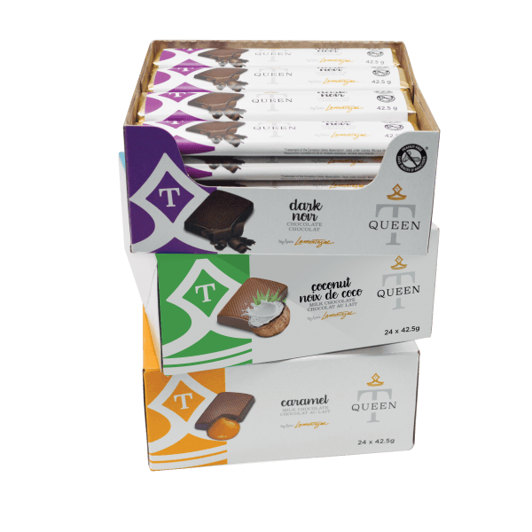 carious flavours single chocolate bars in case - Queen T