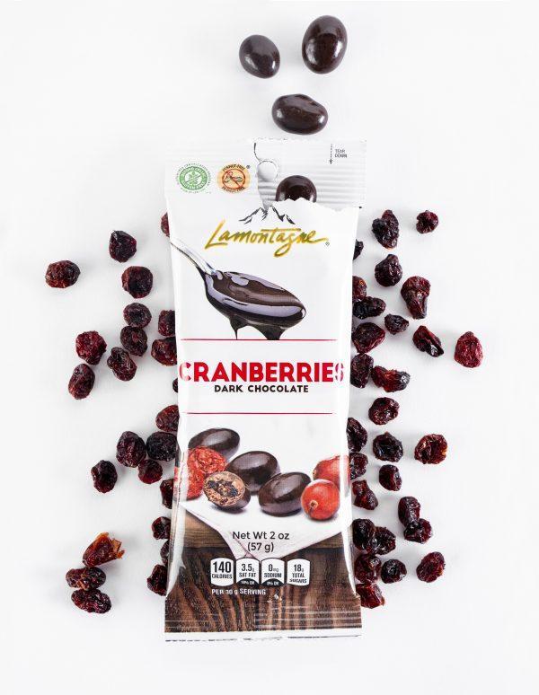 Dark Chocolate Cranberries with ingredients