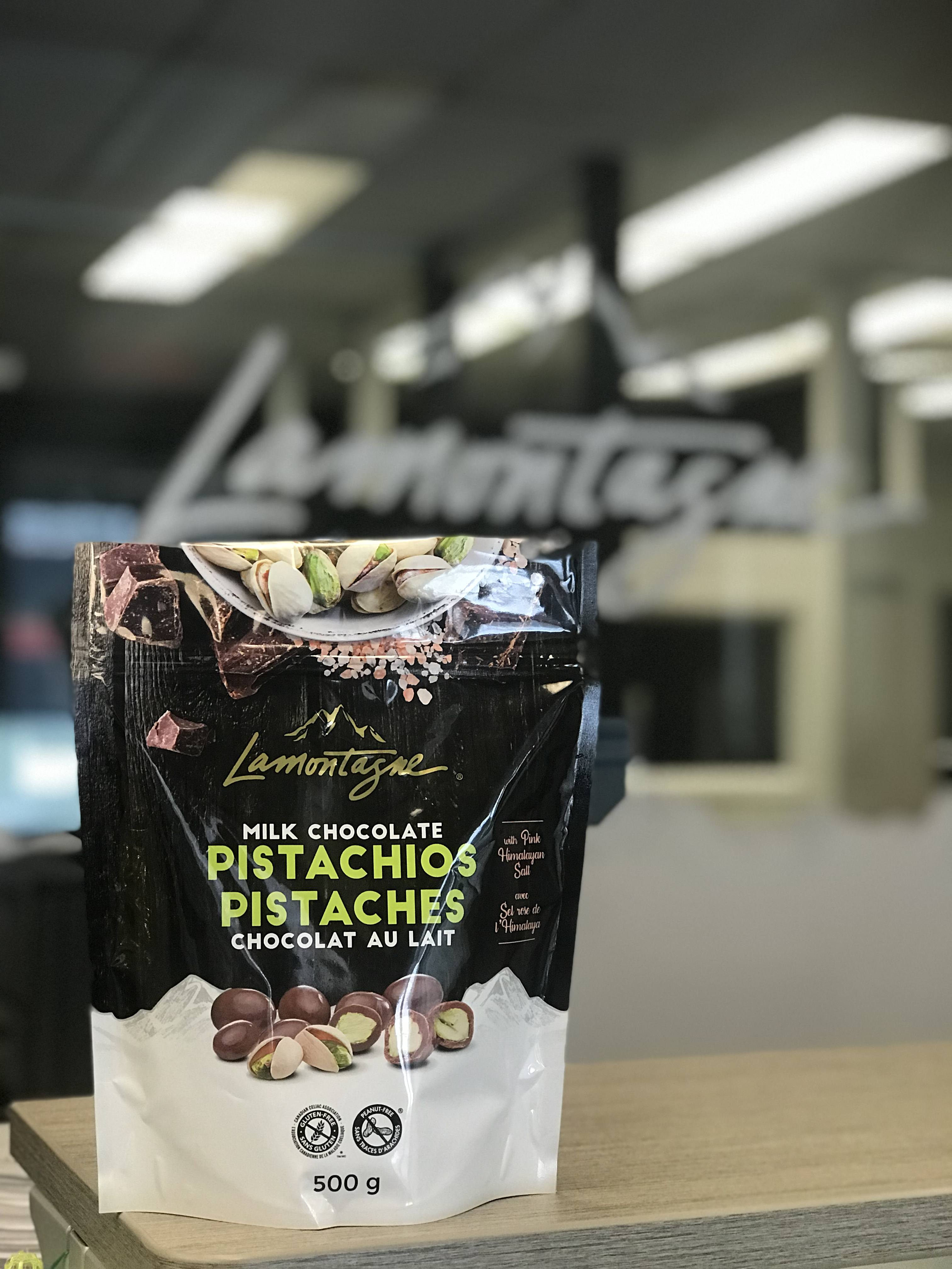 Pink Himalayan salt milk chocolate pistachios